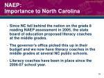 naep importance to north carolina