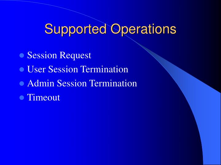 Supported Operations