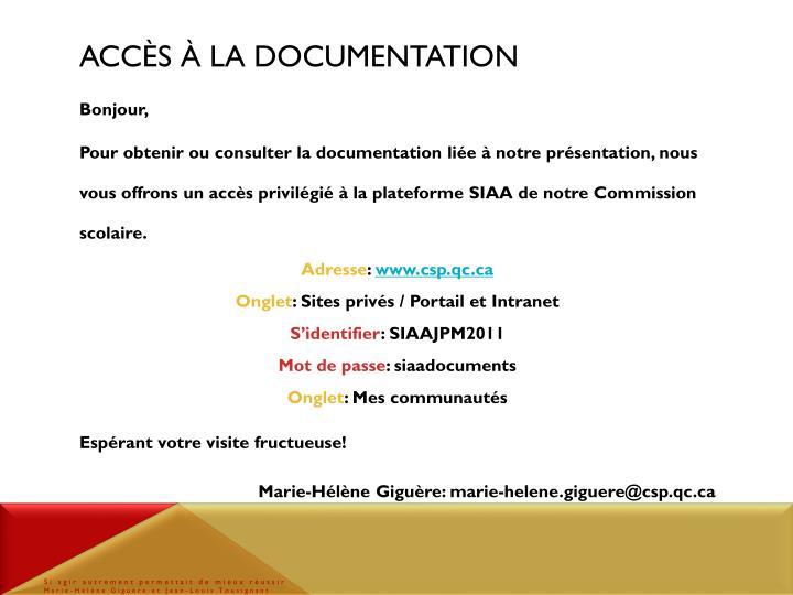 Acc s la documentation