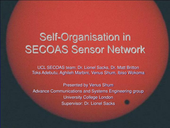 self organisation in secoas sensor network n.