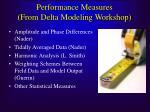 performance measures from delta modeling workshop