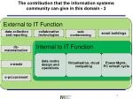 the contribution that the information systems community can give in this domain 2