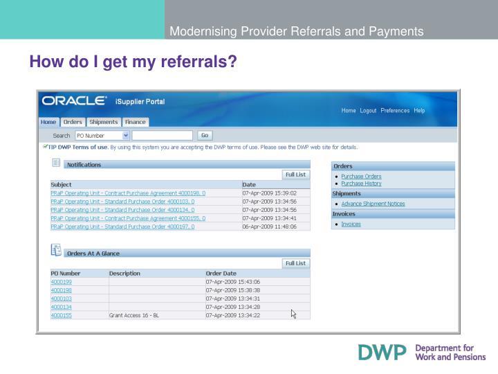 How do I get my referrals?