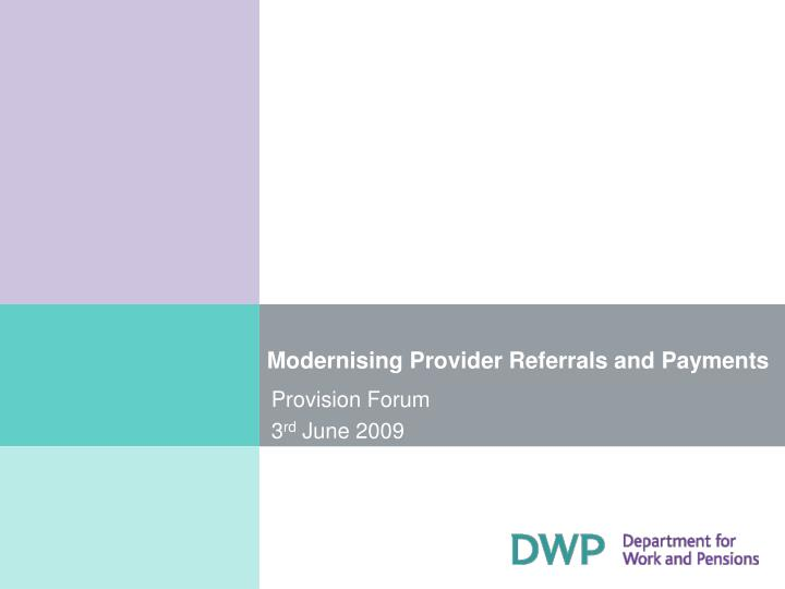 modernising provider referrals and payments n.