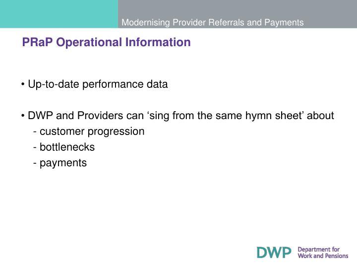 PRaP Operational Information