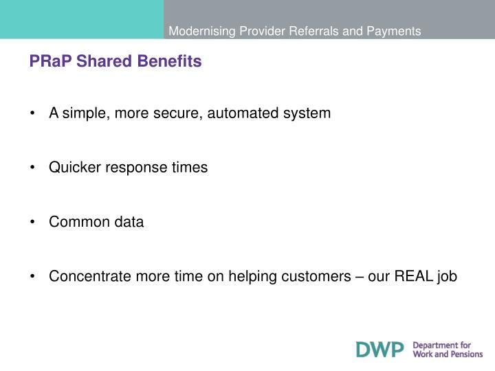 PRaP Shared Benefits