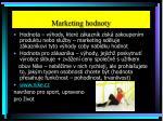 marketing hodnoty