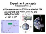 experiment concepts to be selected from