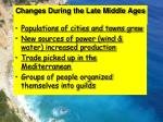 changes during the late middle ages