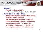 remedy status gesd initiatives
