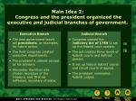 main idea 2 congress and the president organized the executive and judicial branches of government