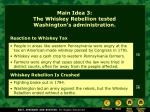 main idea 3 the whiskey rebellion tested washington s administration