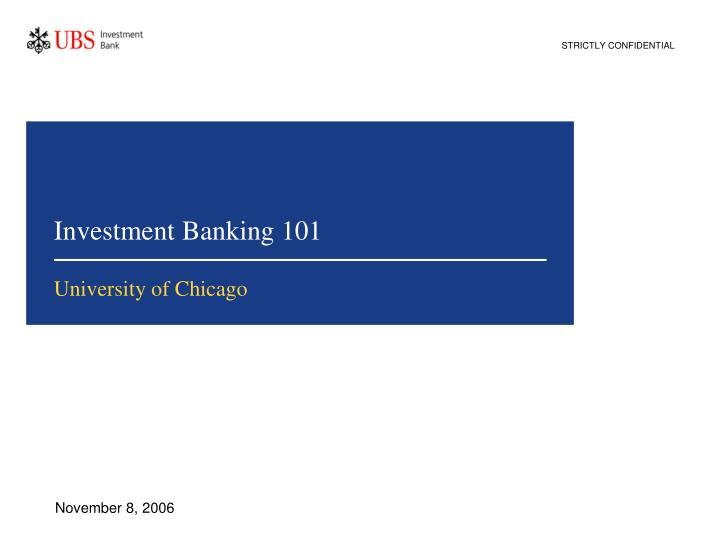 investment banking 101 n.
