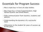 essentials for program success