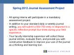 spring 2012 journal assessment project