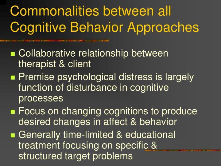 Commonalities between all Cognitive Behavior Approaches