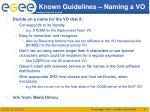 known guidelines naming a vo