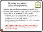 physical inspection section b safety checklist