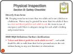 physical inspection section b safety checklist10