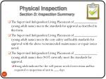 physical inspection section d inspection summary