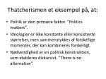 thatcherismen et eksempel p at