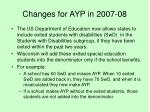 changes for ayp in 2007 08