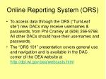 online reporting system ors