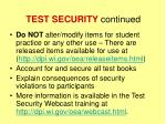 test security continued