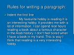 rules for writing a paragraph