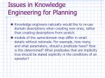 issues in knowledge engineering for planning