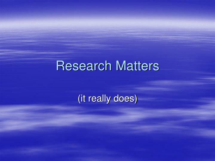 research matters n.