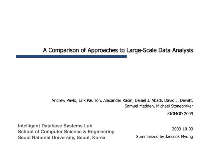 a comparison of approaches to large scale data analysis n.