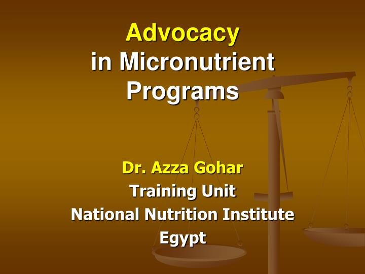 advocacy in micronutrient programs n.