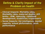 define clarify impact of the problem on health