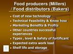 food producers millers food distributors bakers