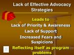 lack of effective advocacy strategies