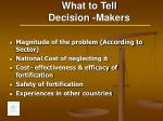what to tell decision makers