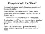 comparison to the west