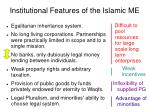 institutional features of the islamic me
