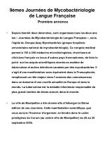 9 mes journ es de mycobact riologie de langue fran aise premi re annonce