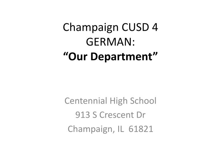 champaign cusd 4 german our department n.
