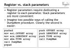 register vs stack parameters