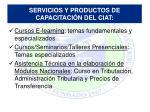 servicios y productos de capacitaci n del ciat