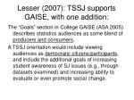 lesser 2007 tssj supports gaise with one addition