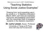 welcome to our july 10 2007 cause webinar teaching statistics using social justice examples