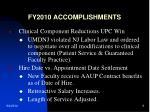fy2010 accomplishments