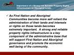 importance of a strong and reliable property rights infrastructure on aboriginal lands