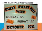 anti bullying awareness week 2012