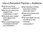 use a document planner audience