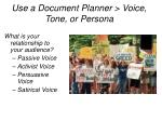 use a document planner voice tone or persona
